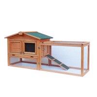 61 Waterproof Two tier Wooden Rabbit Hutch Cage Chicken Coop House Bunny Hen Pet Animal Backyard Ru