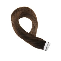 Moresoo Hair Extensions Tape in Human Hair Balayege Coloe Brown Ombre to #8 Skin Weft Tape on Remy Hair