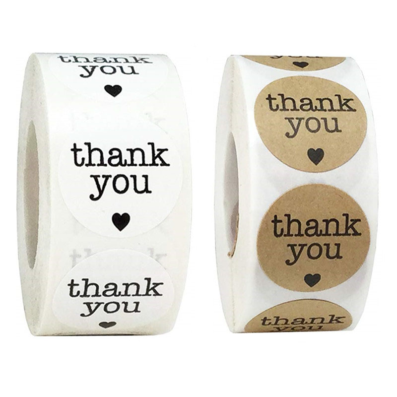 500Pcs Natural Kraft Thank You Stickers seal labels Heart Shape for Holidays wedding decoration envelope stickers Party Supplies