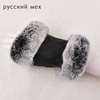 Ladies Genuine Leather Gloves Winter Fashion Real Rex Rabbit Fur Sheepskin Half Finger Gloves
