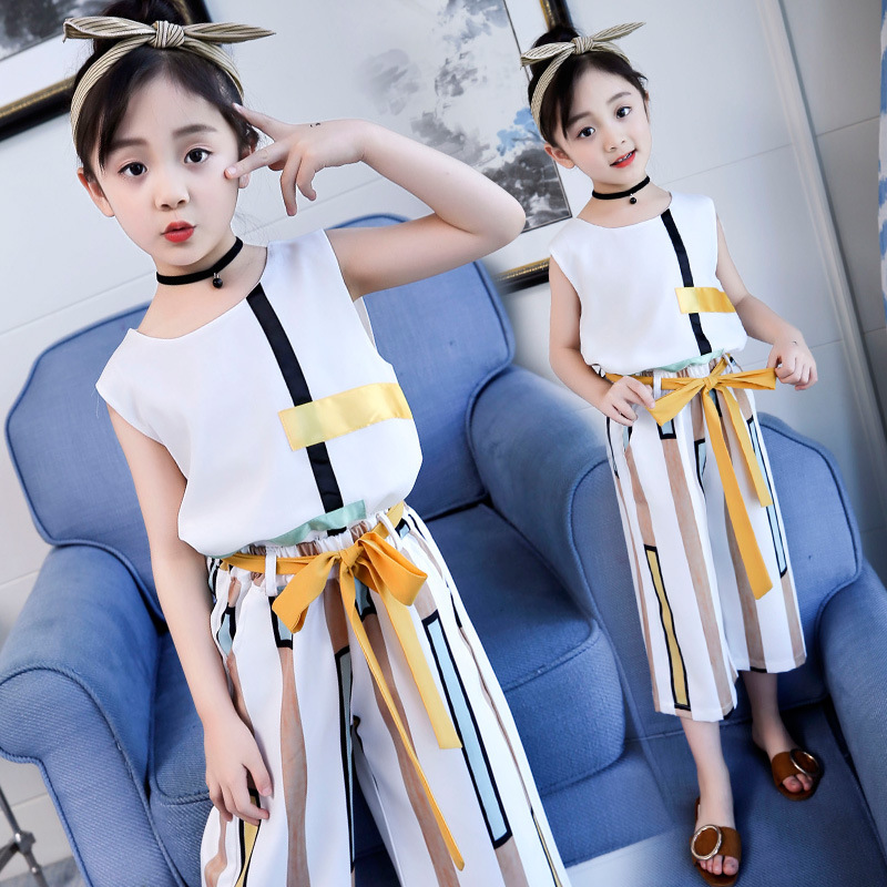 2018 Summer Kids Fashion Girls Clothing Sets 2 Pcs Chiffon Shirts + Pants Suits For Teenage Girls Clothes Sets Ensemble Fille 12 2017 summer girls sets clothes short sleeve chiffon baby girls sets for kids big girls t shirts and stripe shorts children suits