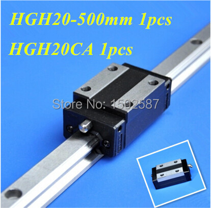 HGH20 20mm L-500mm  Linear Rail Slide /guide Rail  with HGH20CA Linear Block Carriage /Guide Block CNC Parts XYZ AxisHGH20 20mm L-500mm  Linear Rail Slide /guide Rail  with HGH20CA Linear Block Carriage /Guide Block CNC Parts XYZ Axis