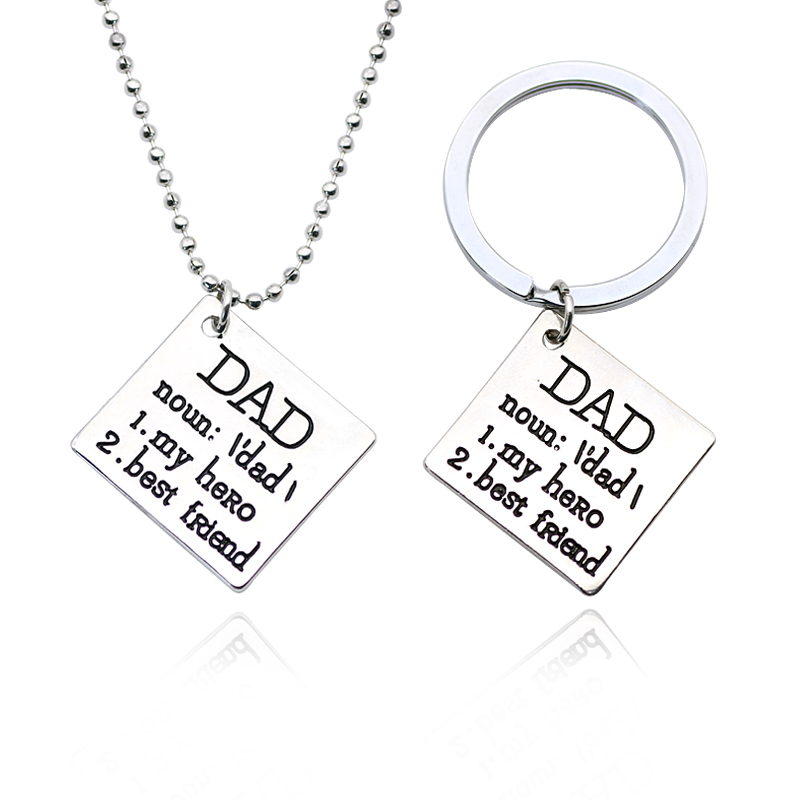 Carved I Love You DAD My Hero Best Friend Pendant Necklace Keychain Keyrings Jewelry For Daddy Best Father's Day Gifts Chaveiro image