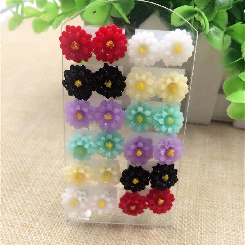 Oath Yan jewelry shop Store OATHYAN 6 Pairs Summer Style Resin Flower Stud Earrings Chic New Design Colorful Stud Earrings Mixed Fashion JEWELRY In Random