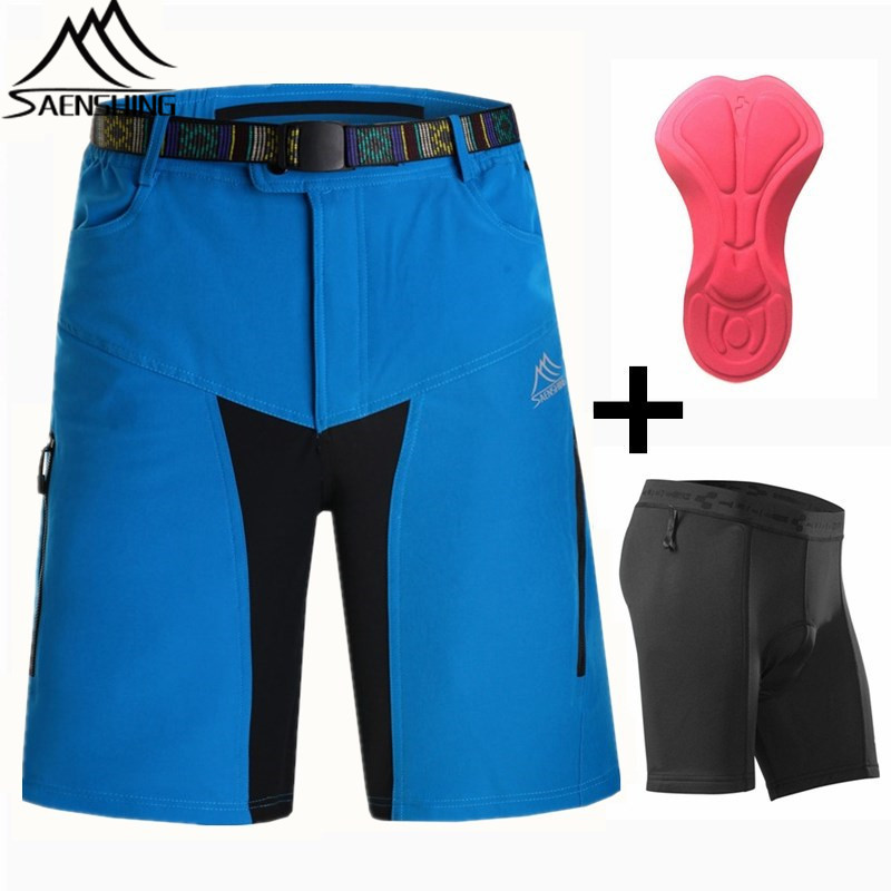 Saenshing Cycling Shorts + Cube Cycling Underwear Breathable Mountain Bike Shorts Quick Dry Fabric Short vtt Men Cyclingwear women s cycling shorts cycling mountain bike cycling equipment female spring autumn breathable wicking silicone skirt