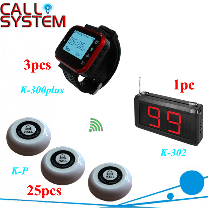Restaurant equipment Wireless ordering bell buzzer system 1 monitor 3 waitress pager 25 transmitters restaurant pager watch wireless call buzzer system work with 3 pcs wrist watch and 25pcs waitress bell button p h4