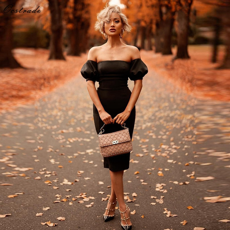 Ocstrade Bandage Dress 2019 Black Sexy Off the Shouler Summer Short Sleeve Bandage Dress Bodycon Women