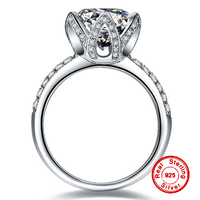 2 Carat NOT FAKE S925 Sterling Silver Ring SONA Diamond Round cut Lotus Queen Love Romance Ring Wedding Engagement simple 925