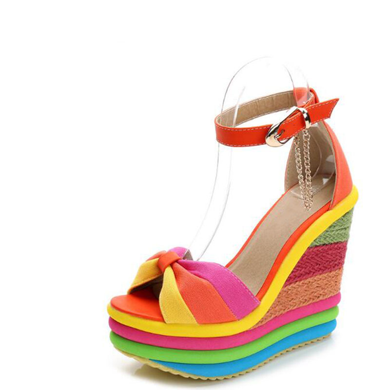 Summer sweet candy color metal thick high-heeled platform spell color sponge at the end of the rainbow female sandals fashion 2016 summer new leather tendon at the bottom side of the empty fish head crude rainbow low heeled shoes women xtf039