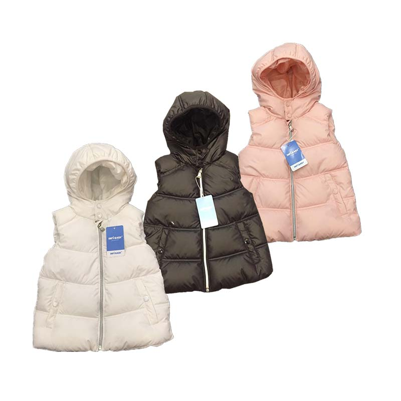 baby Outerwear Winter Jackets Coats Double Casual Style Unisex Hooded Children's Fur Vests Cotton Solid color Hooded Vest pink solid color off shoulder crop bodycon sweaters vests