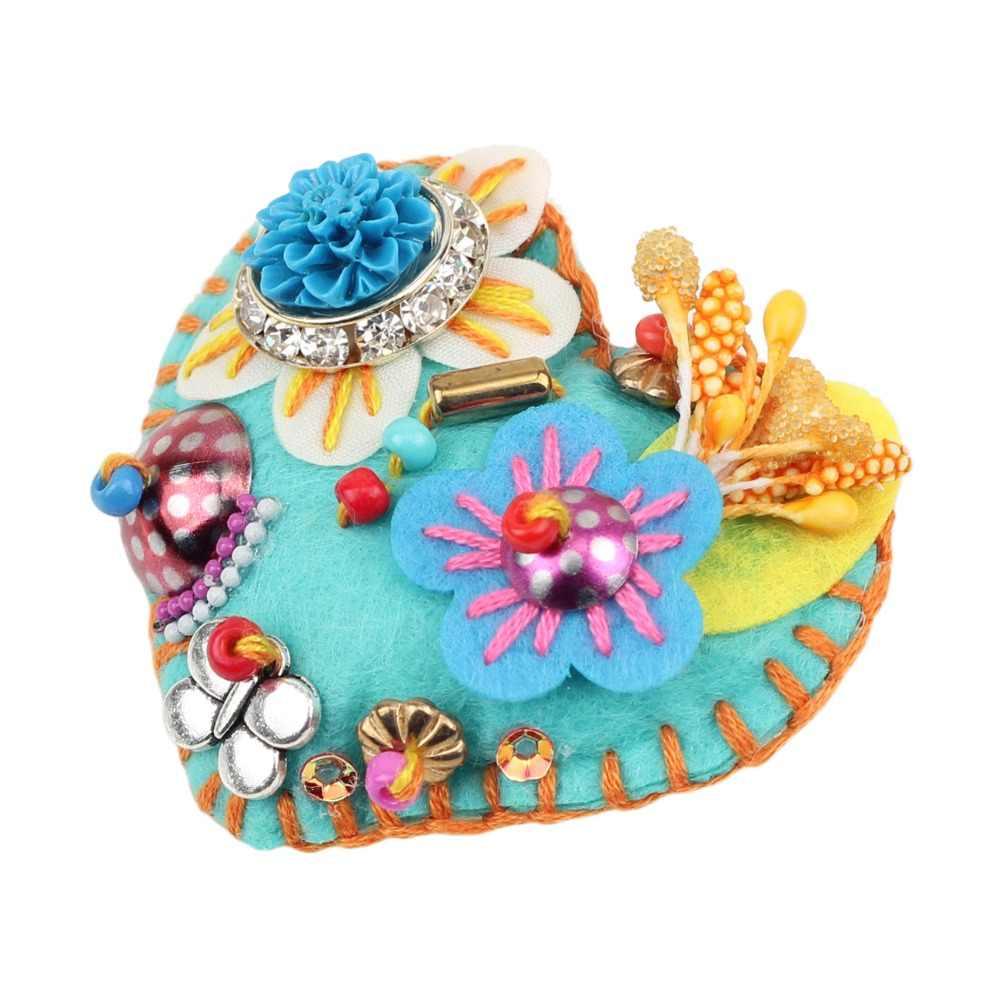 Bonsny Bahan Katun Bentuk Hati Bunga Bros untuk Wanita Pernikahan Bros Pin untuk Kerah Setelan Syal Dekorasi Baru Perhiasan
