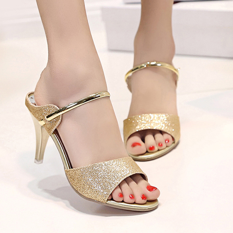 03fd6a2af93 Summer Women Sandals Fashion Gold Silver High Heels Sandals Beautiful Women  Shoes Open Toes-in High Heels from Shoes on Aliexpress.com