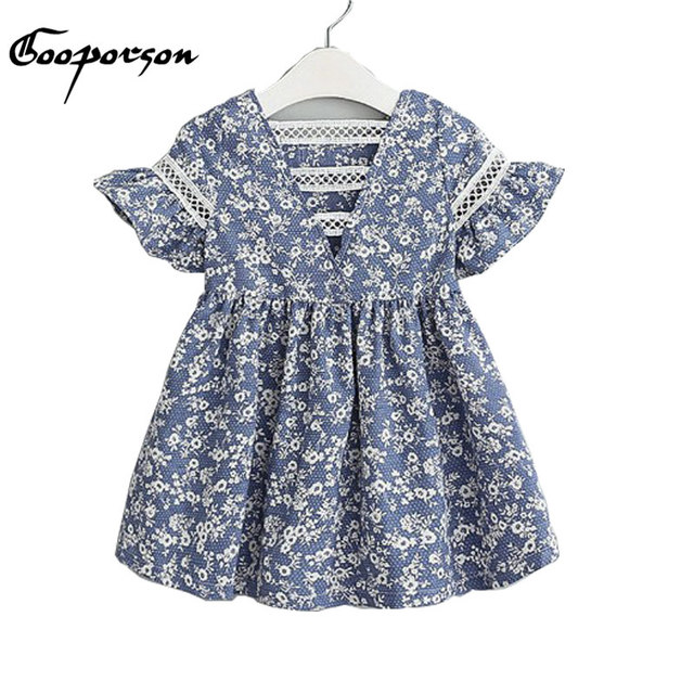 813618547d Grils Dress Navy Floral Baby Girls Casual Back Hallow Out Fashion Dress  Children Clothes Puff Sleeve Kids Dress With Lace