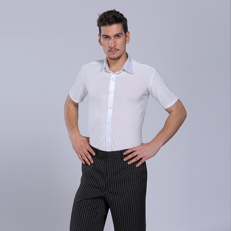 Picture of Red Mens Dancing Shirts Men #39;S Latin Shirt Mens Ballroom Shirts Men #39;S Latin Dance Costumes Dance Top Mens Ballroom Dancewear