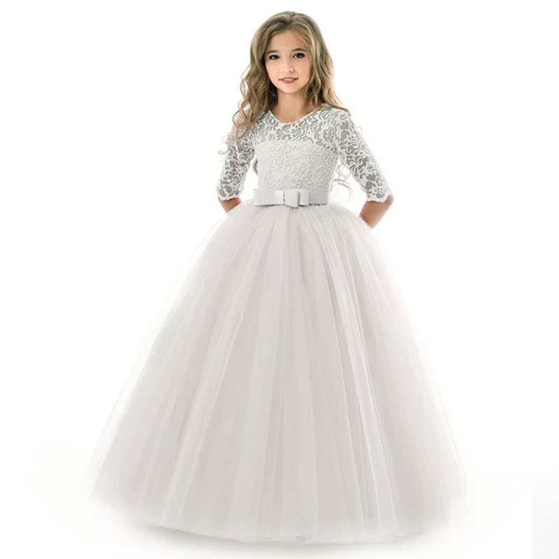 Teens Costume Girls Long Lace Dress Children Clothing  Princess Party Flower Kids Tulle Dress Wedding First Communion Dress