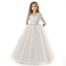 Teens costume girls long Lace dress children clothing princess party flower