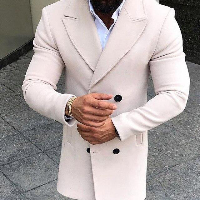 Men Turndown Collar Wool...