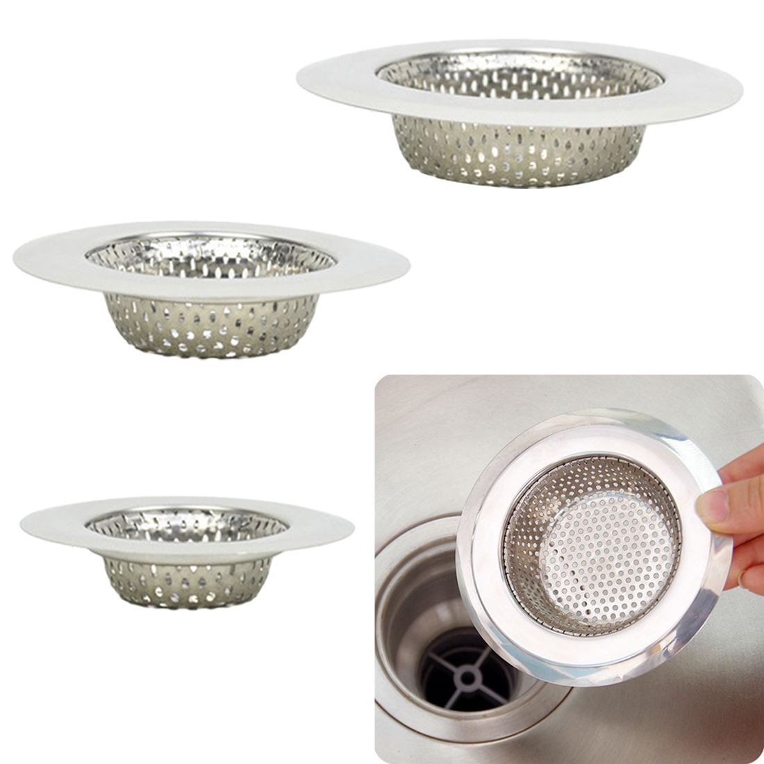 7cm/9cm/11cm Kitchen Sink Strainer Drain Hole Filter Trap Metal Sink Strainer Stainless Steel Bath Sink Drain Waste Screen