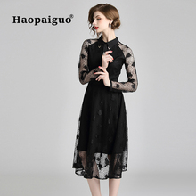 Midi Casual Lace Black Dress Women Long Sleeve Winter Autumn Dresses Woman Work Office Ladies Plus Size S-2XL Robe