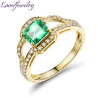 Amazing 18kt Yellow Gold Natural Diamond Emerald Cut t Emerald Engagement Ring WU316