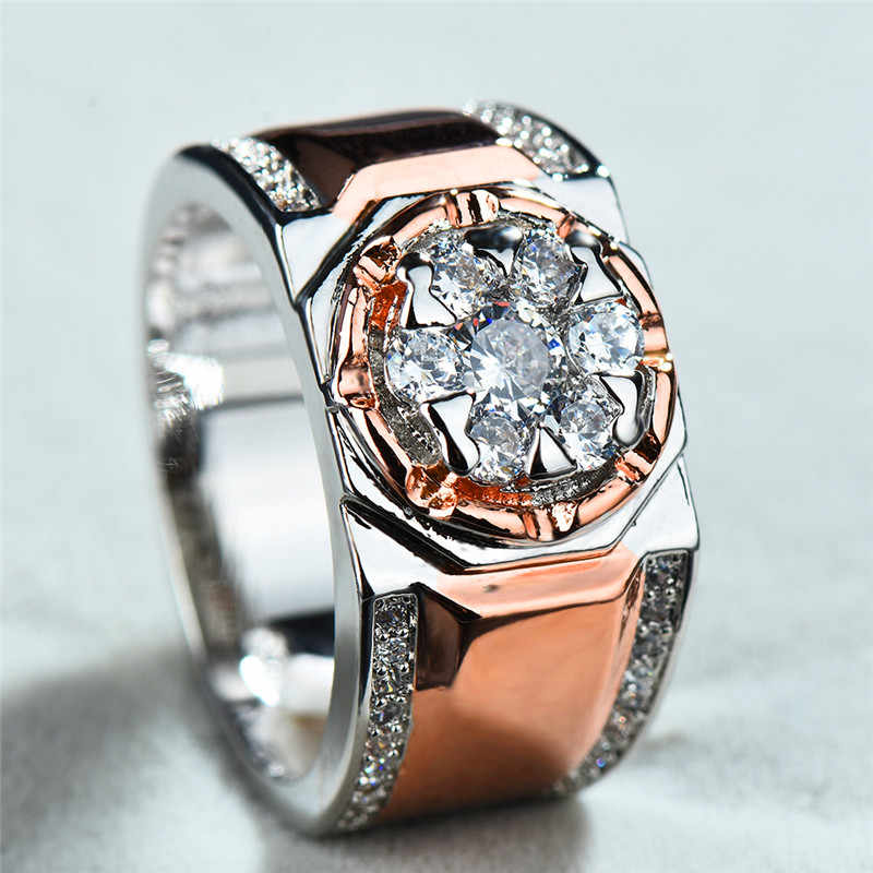 Роскошные мужские и женские с крупным Цирконом кольцо Мода 925 серебро/обручальное кольцо из розового золота Jewelry Винтаж для мужчин вечерние свадебные кольца
