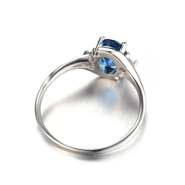 Natural London Blue Topaz Engagement Ring Genuine 925 Sterling Silver New Hot Top Quality Women Fashion Wholesale Wedding Gift