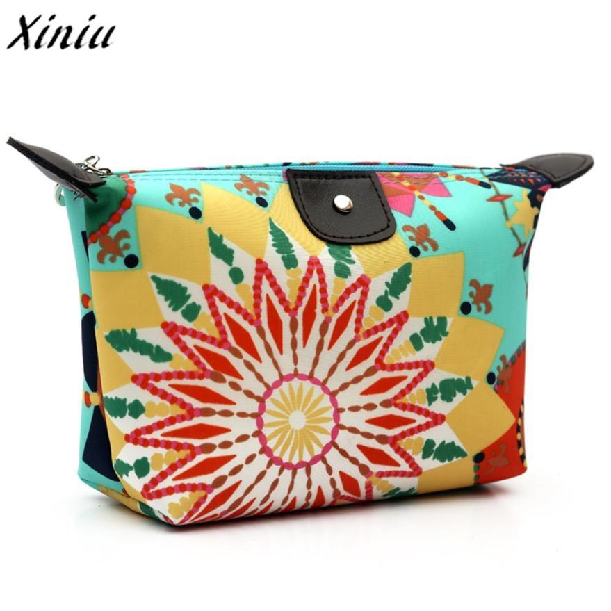 New fashion high quality Women Travel Make Up Cosmetic Pouch Bag Clutch Handbag Casual Purse Zipper velvet viaje 2018