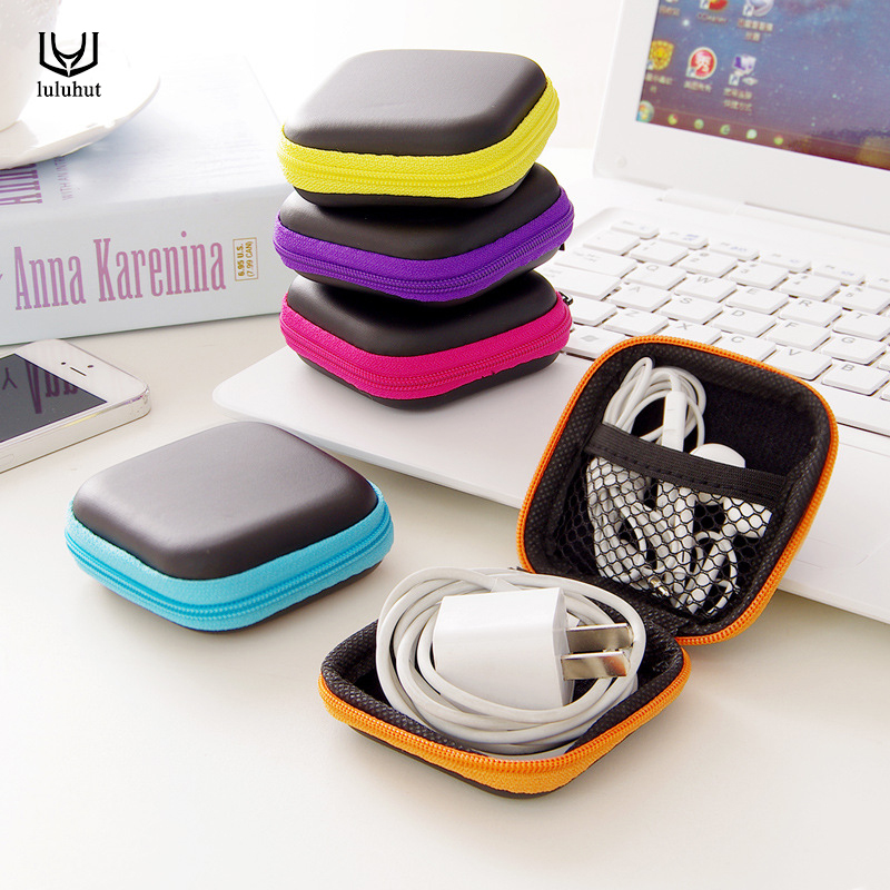 luluhut hard storage box case for earphones headphone carry storage bag for ear buds usb cable organizer SD card small box