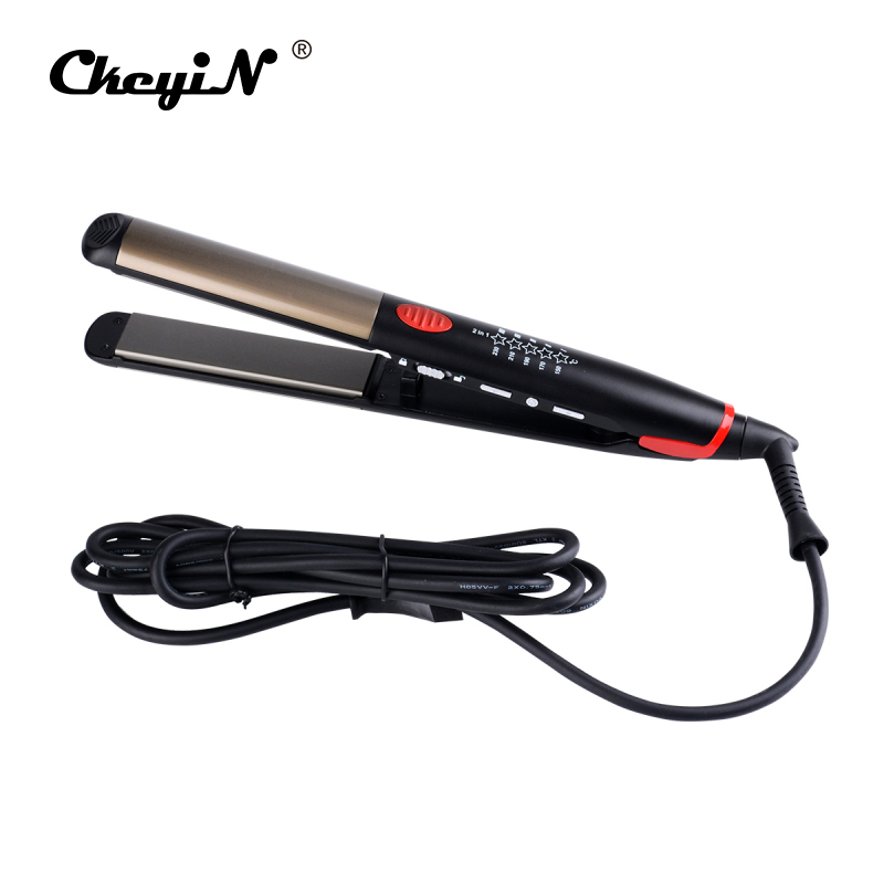2 In 1 Led Light Hair Straightening Curler Flat Iron