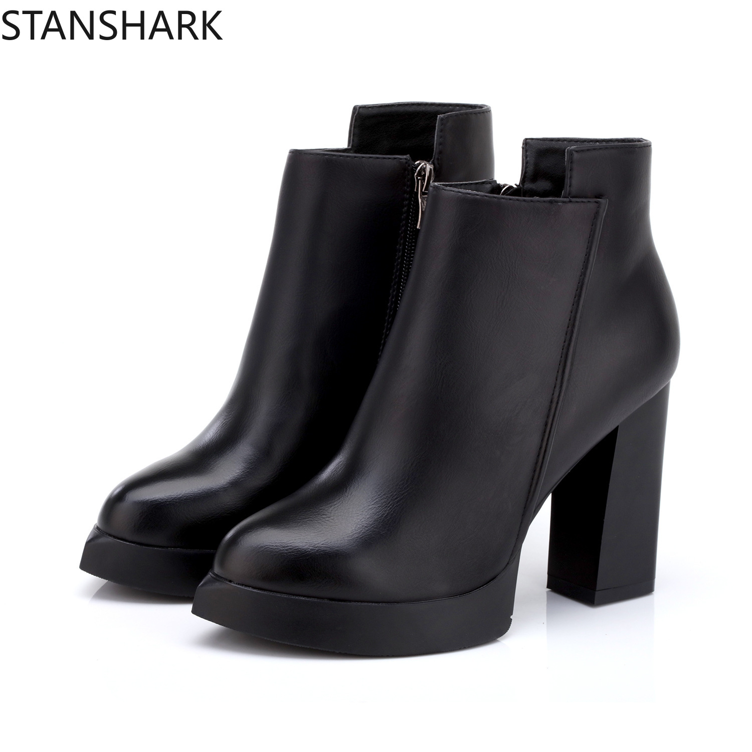 2019 New Autumn Womens Ankle Rain Boots Oxford Plain Shoes Woman Dress Zipper Shoe Formal OL High Heels Lady Black Footwear2019 New Autumn Womens Ankle Rain Boots Oxford Plain Shoes Woman Dress Zipper Shoe Formal OL High Heels Lady Black Footwear