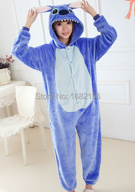 Unisex Adult Pajama Cosplay Costume Animal Onepiece Sleepwear Summer Blue Stitch