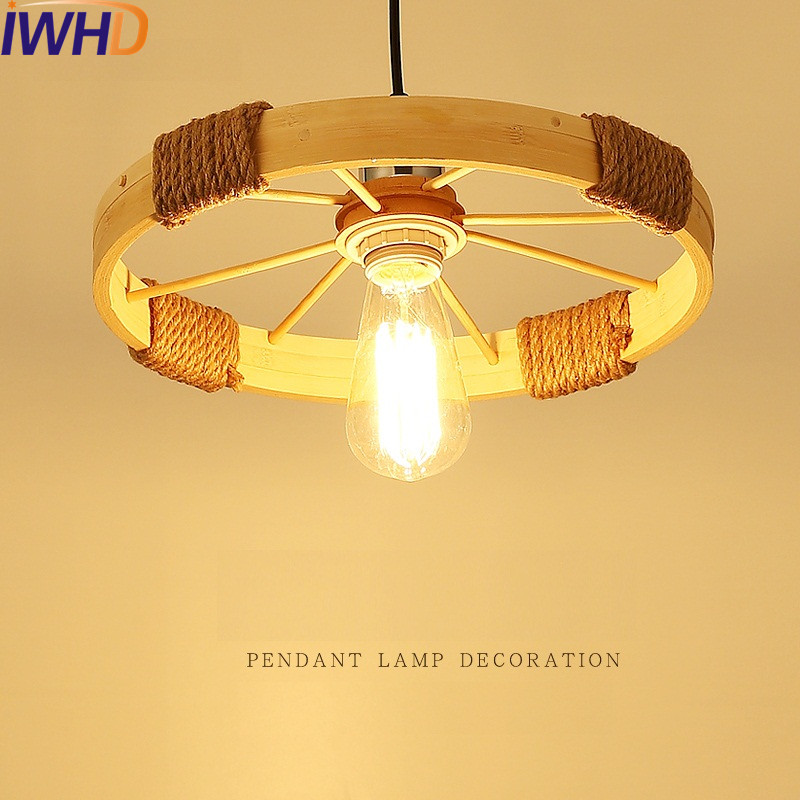 IWHD Loft Style Hemp Rope Bamboo Droplight Industrial Vintage Pendant Light Fixtures Dining Room LED Hanging Lamp Home Lighting