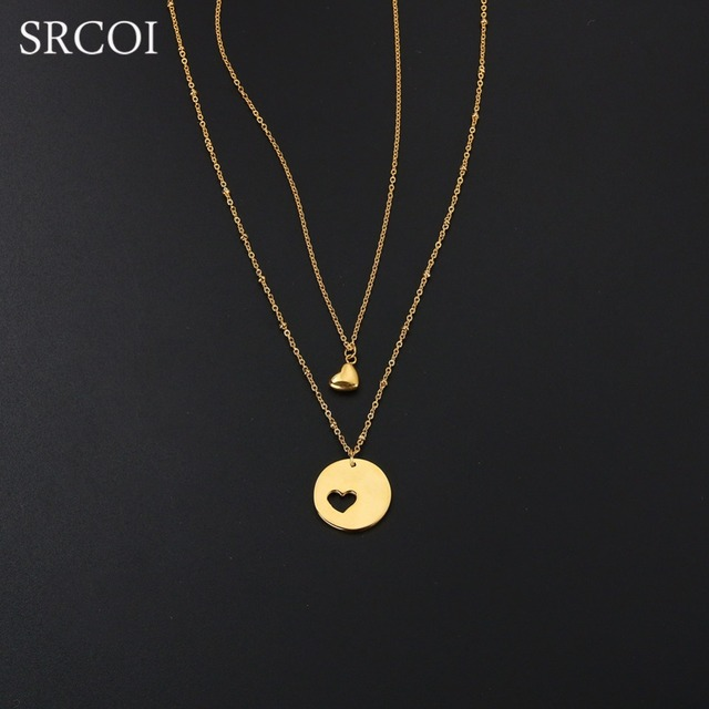 srcoi personalized mother daughter necklace set gold color heart cut