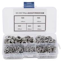 700pcs M3-M8 Combinatie Doos Rvs 304 Externe Getande Washer Kit Staal Washer(China)