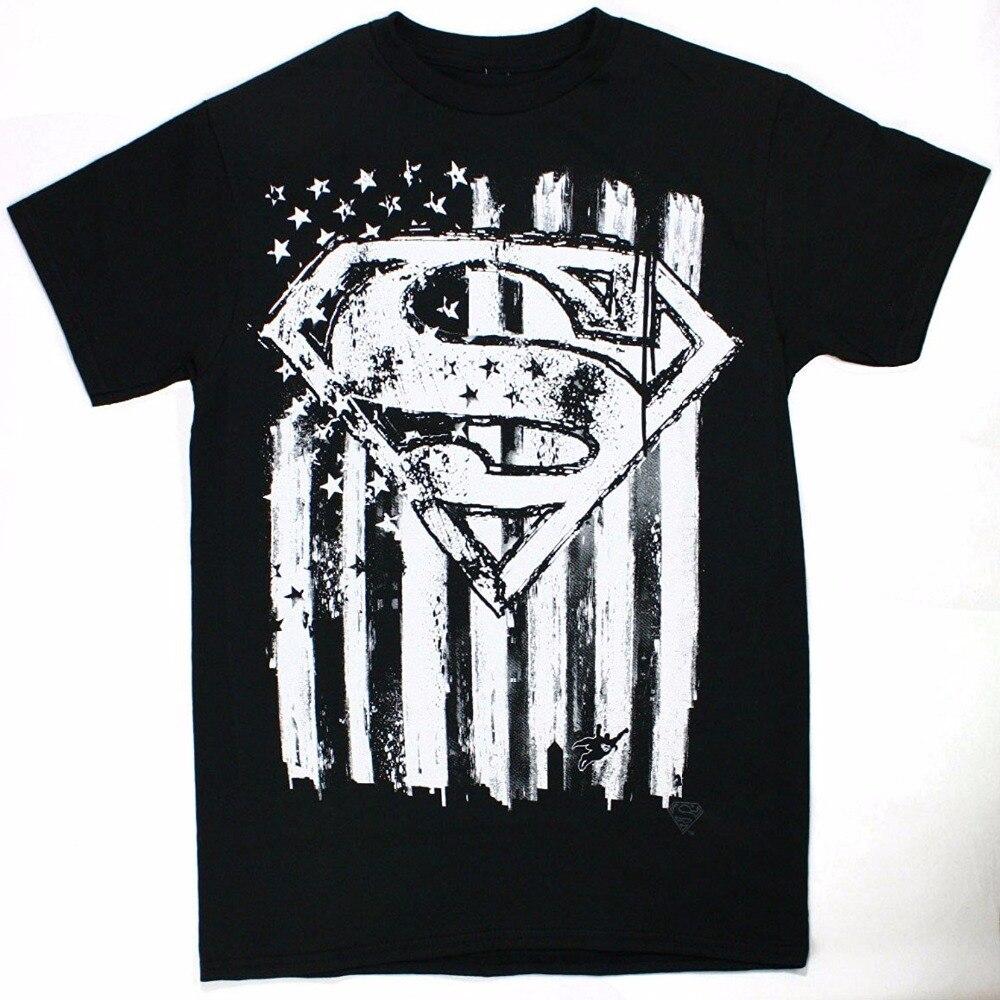 Fashion Soft Thin Men T Shirt Summer Style Superman Emblem Flag Printed Tee Men  Funny Casual Brand Shirts Top