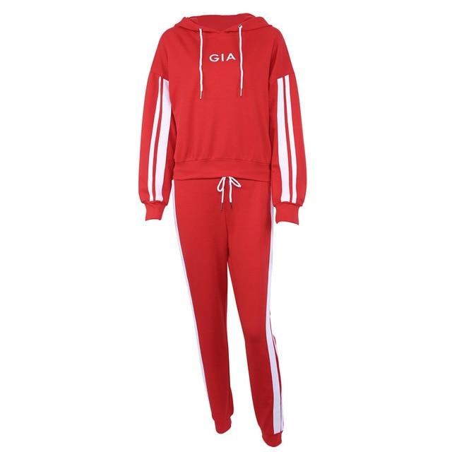 Women's suits 2018 Autumn 2 Piece Set Women Tracksuit Sportswear Casual White Red Sweat Pants Hooded Cropped Sweatshirt Hoodie 4