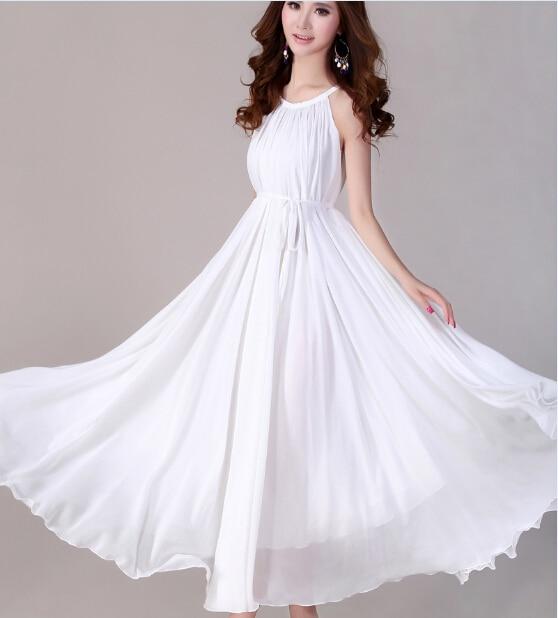 5eb6a5da2f55 Hawaiian Dress for Women White Bridal Dress Chiffon Maxi Dress Long Puffy  Dress for Girls White Red Yellow