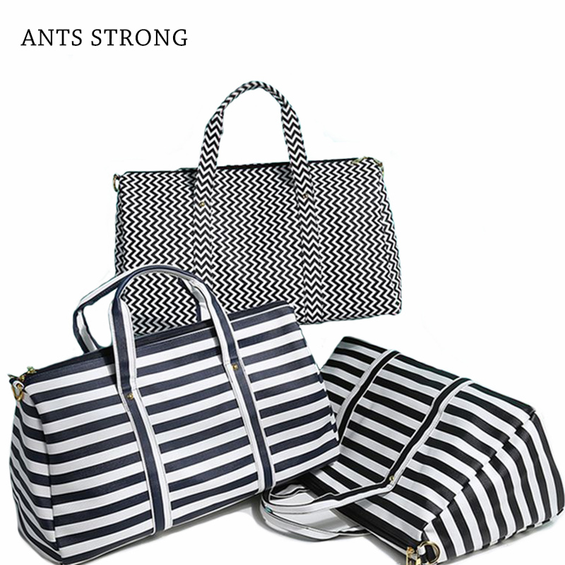 ANTS STRONG stripe across travel duffle/Anti-scratch PU leather shoulder men woman common business trip bag yuanting wang does confucius xiao travel across time and languages