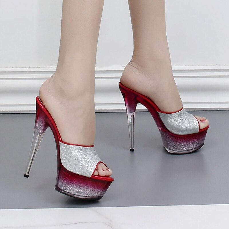 Pantoufles Femmes D'été Chaussures Sexy Mules Transparent Talons Glitter Diapositives Plate-Forme Stripper Chaussures Partie 17 cm Cristal Haute Talons
