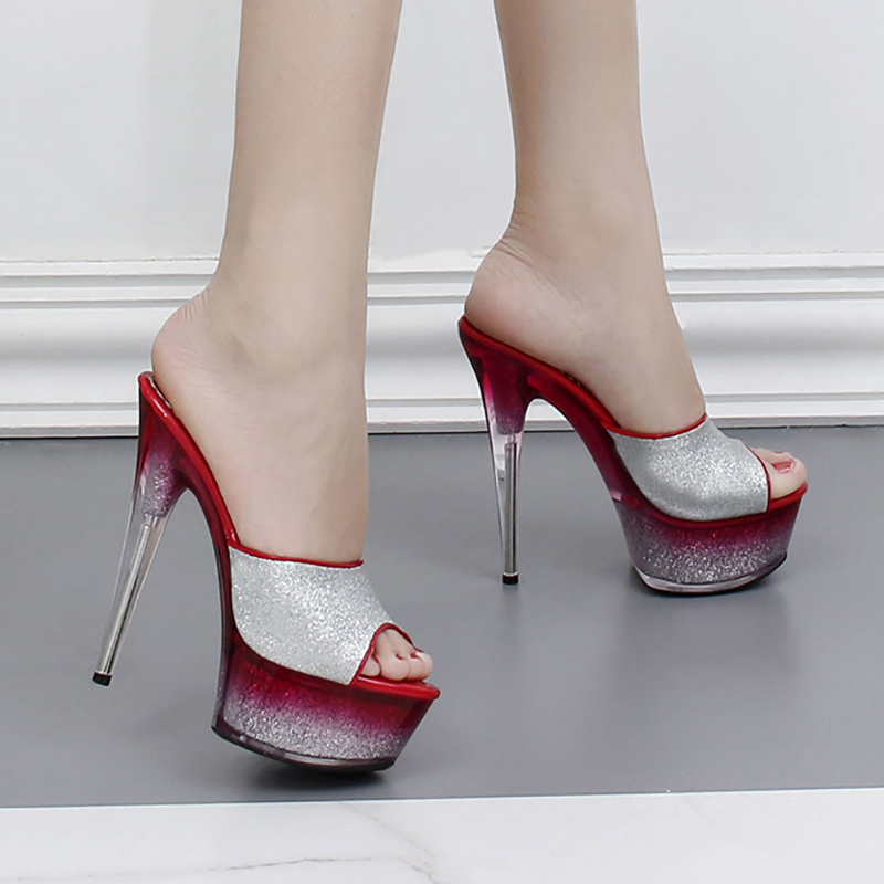 b8a2239558e1e US $62.36 41% OFF|Slippers Women Summer Shoes Sexy Mules Transparent Heels  Glitter Slides Platform Stripper Shoes Party 17cm Crystal High Heels-in ...