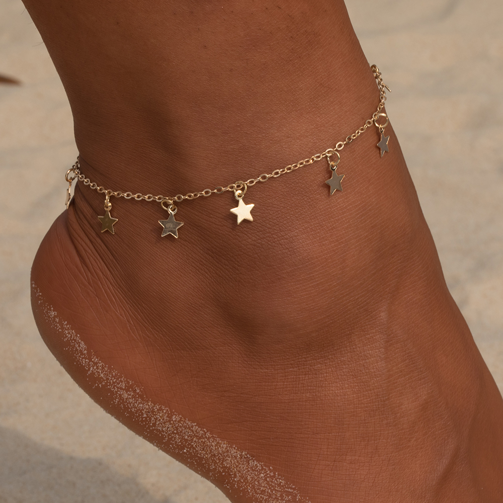 Vienkim estrela pingente anklet pé corrente verão yoga praia perna pulseira charme tornozeleiras jóias presente