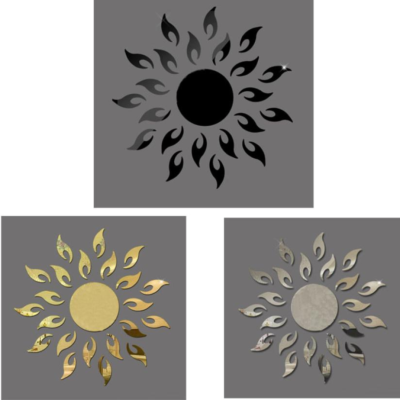 New Qualified Luxury 3D Sun flower Home Decor Bell Cool Mirrors Wall Stickers dec19