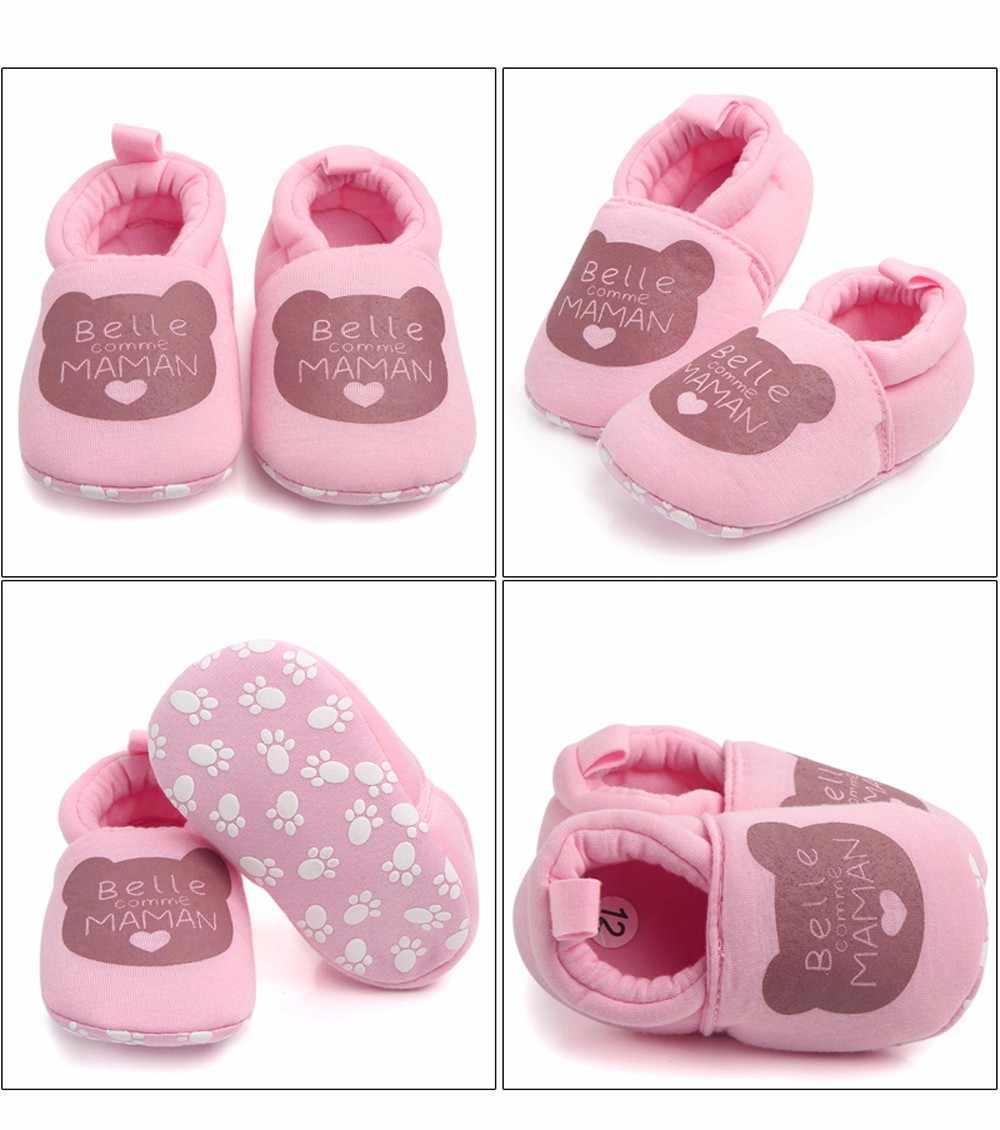 Милая хлопковая обувь для малышей; обувь с мягкой подошвой и принтом для маленьких девочек и мальчиков; хлопковая обувь для первых шагов; детская обувь для новорожденных