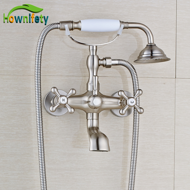 Nickel Brushed Bathroom Tub Faucet Double Handle/Hole Mixer Tap with Ceramics Hand Shower nickel brushed bathroom sink faucet swivel spout tub faucet double handle mixer tap with hand shower