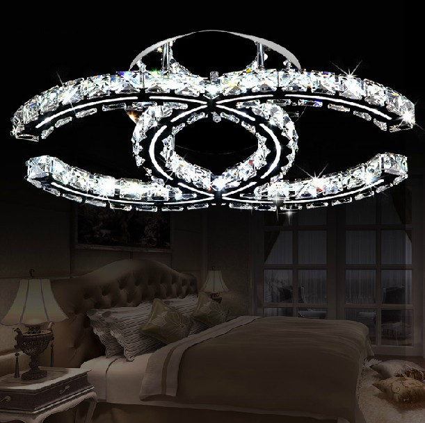 Free Shipping 2014 Hot Sale CC Design Led Ceiling Lights Luster Living Room Crystal Lamp Modern