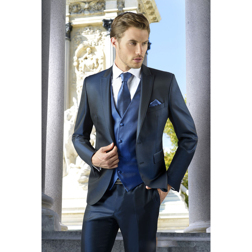 Bespoke Men Navy Blue Casual Business Suits Wedding Groomsman ...