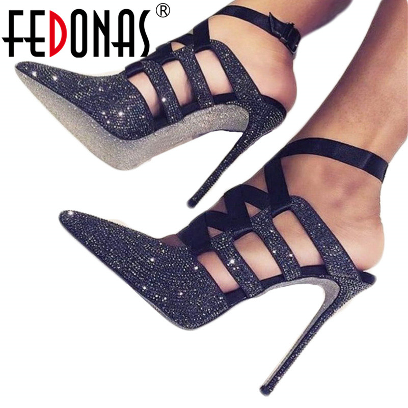 FEDONAS Fashion Sexy High Heels Sandals Rhinestone Wedding Party Shoes Woman Bowtie Pointed Toe Pumps New Slingbacks Prom Sandal