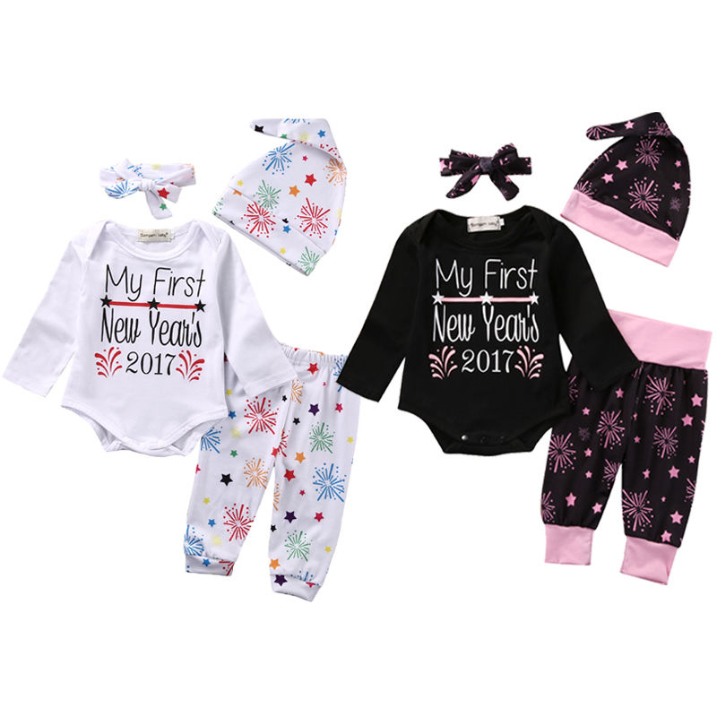 2017 New Year Newborn Infant Baby Girl Clothing Set Babies Girl Bodysuit Onesie Letter Tops+Pants+Headband+Hat 4Pcs Outfits Set