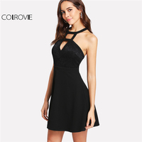 COLROVIE 2018 Party Dress Black Cutout Halter Neck Lace Applique A Line Dress Women Sleeveless Backless