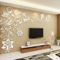 Beautiful Flower Vine Design Acrylic Stickers DIY Stickers for Living Room TV Background Wall Decorations